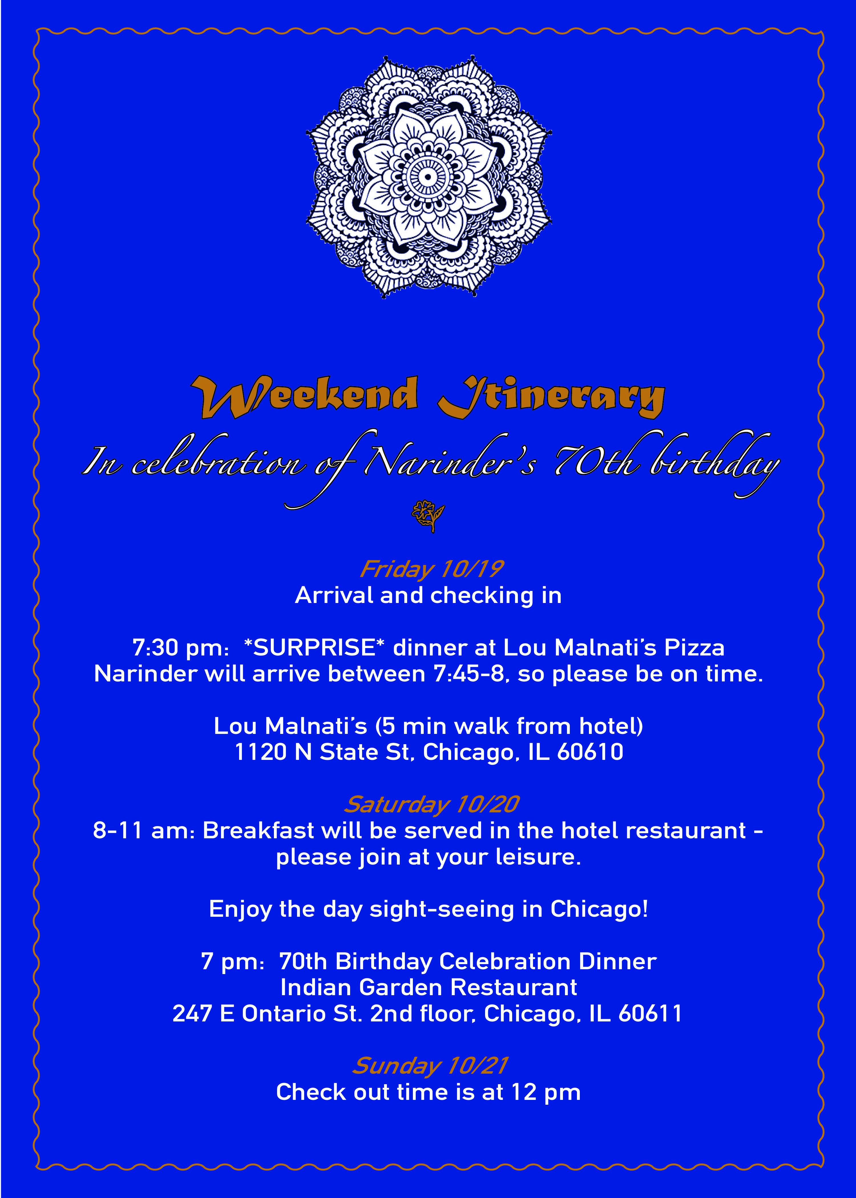 Narinder's Itinerary Blue, ver. ?